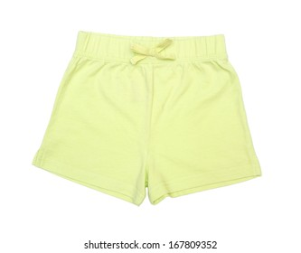 child's green shorts isolated on white background