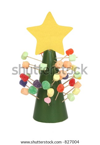 a childs gumdrop and marshmallow christmas tree