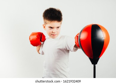 a child's hand in a boxing glove. Portrait of a sporty boy engaged in boxing. Sport. Boy champion - boxing, fitness. Boy has been in the gym for boxing. Young man. Prepare for competitions.