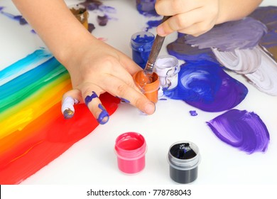 child's hand draw painting colors on a white background