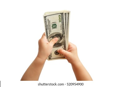 Child's hand holding Banknotes. Hands holding a $ 100 bill. Isolated on white background. Alpha.