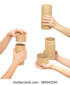 child's hand holding brown paper tube isolated on white background, set of three photos