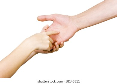 child's hand holding a man's hand on a white background