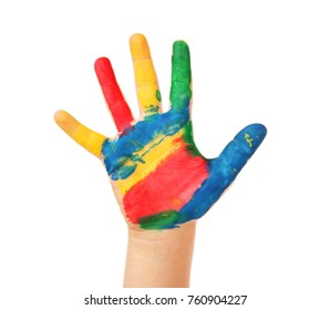 Child's hand in paint on white background