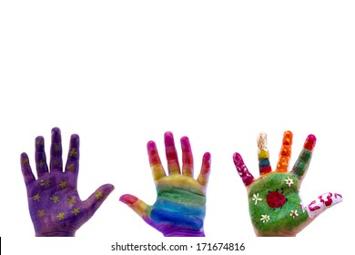Child's hand painted watercolor on white background. Painted flowers, ladybug, grass, star and rainbow