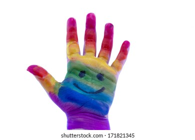 Child's hand painted watercolor on white background. Painted  rainbow