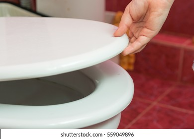 Child's hand puts the toilet seat