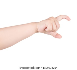 Child's hand showing gesture. The child's hand is holding something. Isolated on white background.