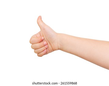Child's hand showing  thumb up, like,  positive sign. Isolated on white background