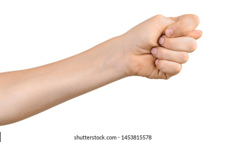 Child's hand shows fig sign. Fico gesture isolated on white background.