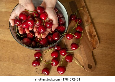 Child's hands holding cherries over bowl full of cherries with wooden table in the background