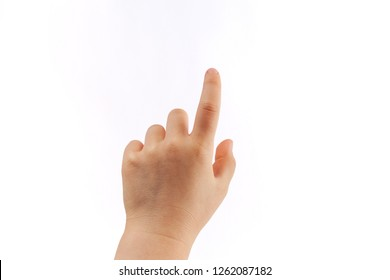 Child's left hand tapping with index finger isolated on white background
