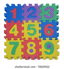 A child's number puzzle on white background