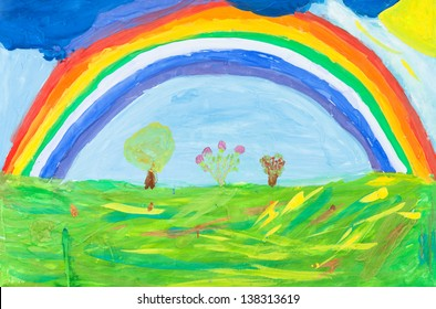 childs painting - rainbow in blue sky under green earth