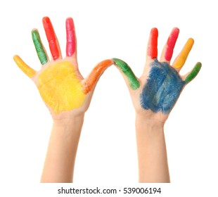 Child's palms in paint on white background