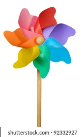 A child's pinwheel or windmill over a white background.