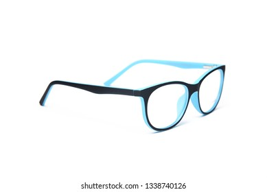 Child's plastic frame for glasses. Mock up for the design of optics store and shop, eye clinic.