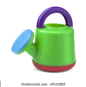 Child's plastic watering can isolated on white