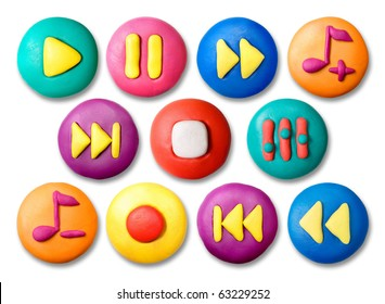 Child's plasticine colorful media buttons set isolated on white background.