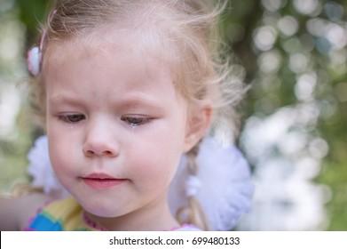 the child's portrait close up cries