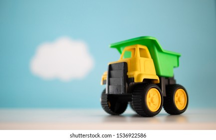 Childs toy dump truck isolated