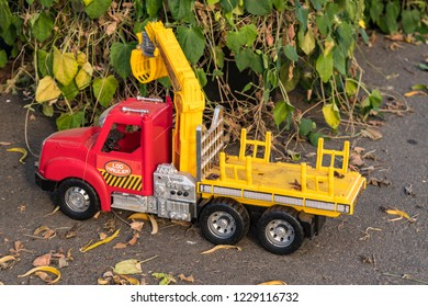 Child's Toy Log Carrier, Hauler Truck in Yellow and Red