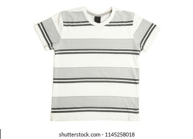 Child's T-shirt in stripes isolated on white. Concept children's clothing.