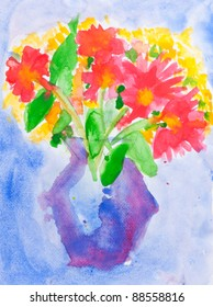 Child's watercolor painting on paper