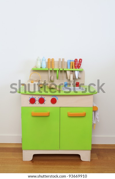 Child's wooden toy kitchen