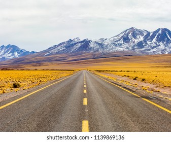 Chile Atacama Desert Road, Blue and Yellow, Simetric