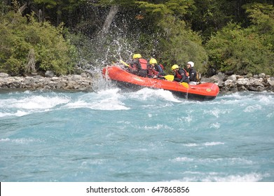 Chile, Carretera Austral december 2016 ,Baker River, whitewater rafting group taking a wabe