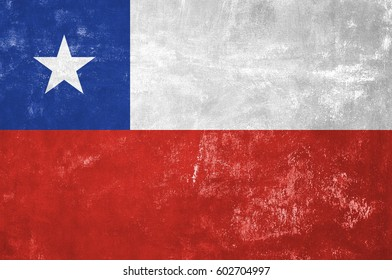 Chile - Chilean Flag on Old Grunge Texture Background