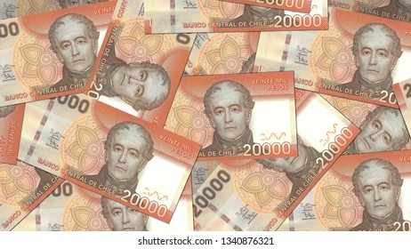 Chile CLP banknote as background wallpaper using 20K 20000 Peso twenty thousand pesos