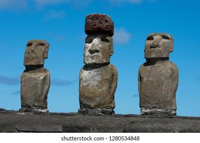 Chile, Easter Island, Hanga Nui. Rapa Nui National Park, Ahu Tongariki. Fifteen large moai statues on the largest ceremonial platform in all of Polynesia. Moai with pukao (headdress). UNESCO