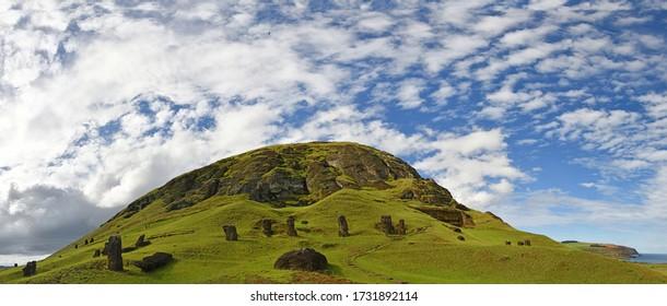 Chile. Easter Island, Isla de Pascua (Rapa Nui). Rano Raraku, Moai statue quarry. - Shutterstock ID 1731892114