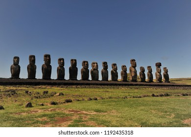 Chile. Easter Island. Statutes of moai on the shore of the island.