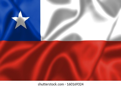 Chile flag blowing in the wind. Background texture.