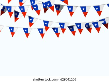 Chile flag festive bunting against a plain background. 3D Rendering