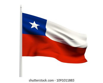 Chile flag floating in the wind with a White sky background. 3D illustration.