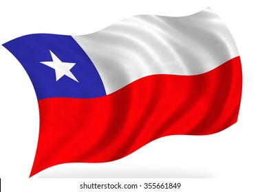 Chile flag, isolated