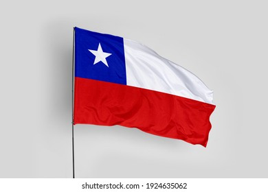 Chile flag isolated on white background with clipping path. close up waving flag of Chile. flag symbols of Chile.
