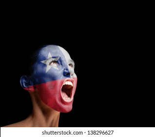 The Chile flag on the face of a screaming woman. concept