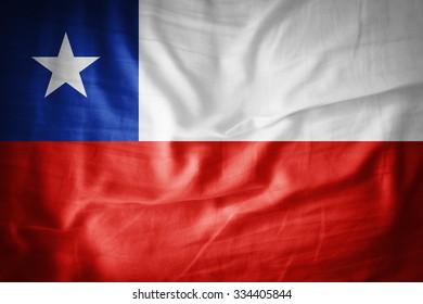 Chile  flag on grunge fabric