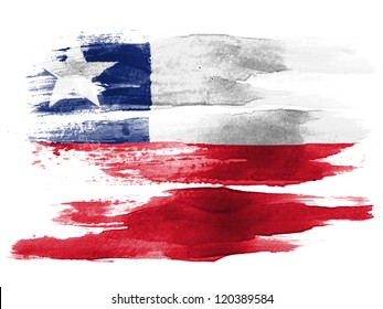 The Chile flag painted on  white paper with watercolor