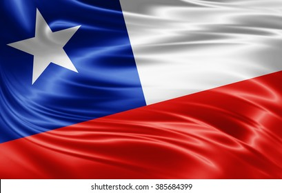 Chile flag of silk