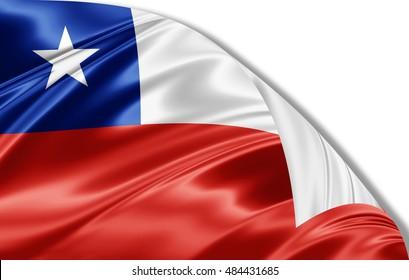 Chile  flag of silk-3D illustration