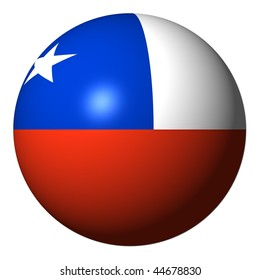 Chile flag sphere isolated on white illustration