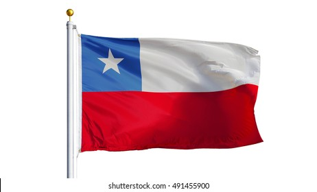 Chile flag waving on white background, close up, isolated with clipping path mask alpha channel transparency