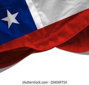 Chile flag and white background