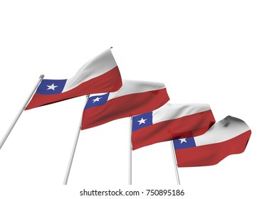 Chile flags in a row with a white background. 3D Rendering